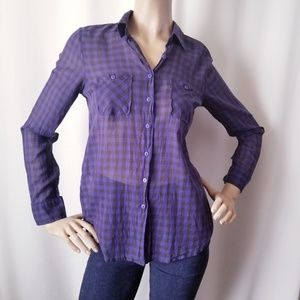 BCBGeneration Blue & Black Plaid Button Down